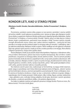 Vasa Pavković: KONDOR LETI, KAO U STAROJ PESMI
