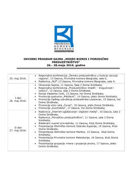 Okvirni program sajma - Privredna komora Beograda