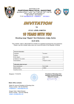 Application form - SK Partizan Practical Shooting