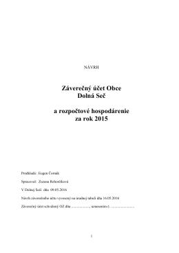 Návrh záverečného účtu obce za rok 2015