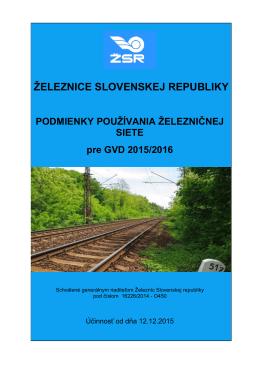 Podmienky používania železničnej siete pre GVD 2015/2016