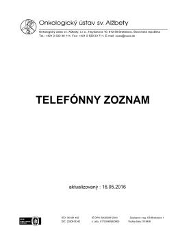 Aktuálnu verziu telefónneho zoznamu v PDF formáte si môžete
