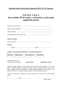 Stiahnuť  - Základná Škola Mateja Bela Šamorín