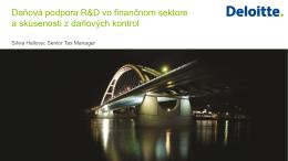 Daňová podpora R&D vo finančnom sektore SR a súčasné