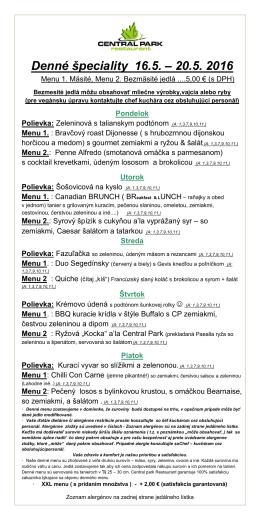 Denné špeciality 16.5. – 20.5. 2016