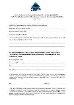 Oznámenie bankových údajov na úhradu štipendia v