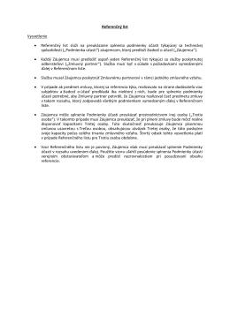 Referenčný list Vysvetlenie • Referenčný list slúži na preukázanie
