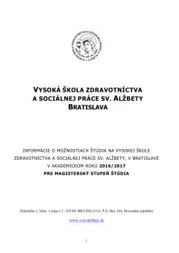 Prijímacie konanie - Vysoká škola zdravotníctva a sociálnej práce sv