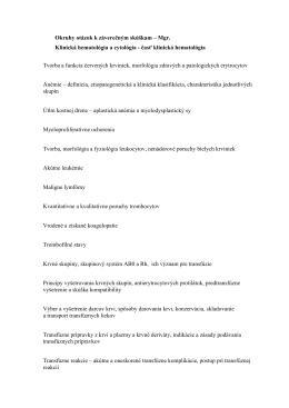 okruhy Mgr. Klin. hem a cyt._časť hematológia