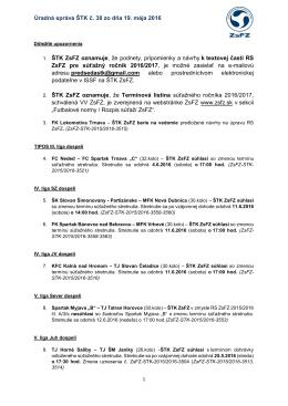 Úradná správa ŠTK ZsFZ č.38 zo dňa 19.5.2016 vo formáte * na