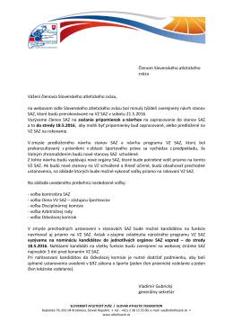 Členom Slovenského atletického zväzu Vážení členovia