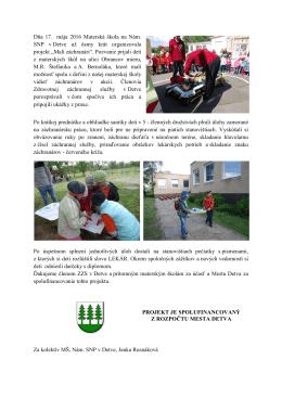 Dňa 17. mája 2016 Materská škola na Nám. SNP v Detve už ôsmy