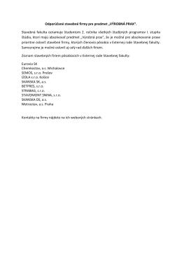 Odporúčané stavebné firmy pre predmet