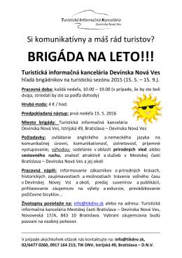 brigáda na leto!!! - Turistická informačná kancelária Devínska Nová