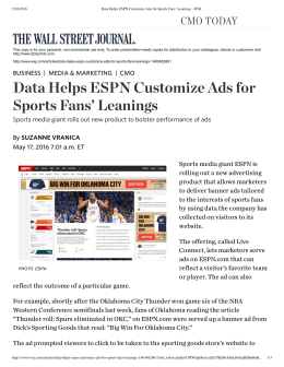 Data Helps ESPN Customize Ads for Sports Fans
