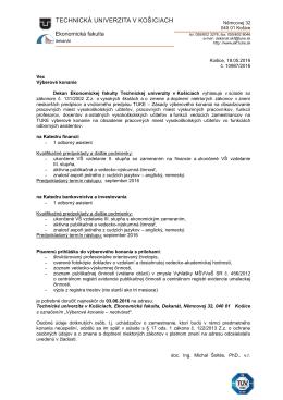Výberové konanie - odborní asitenti na EkF