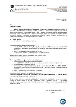 Výberové konanie - vedecko-výskumní zamestnanci na EkF