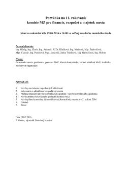 Pozvánka na rokovanie komisie pre financie, rozpočet a majetok