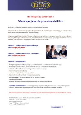 Oferta specjalna dla przedstawicieli firm
