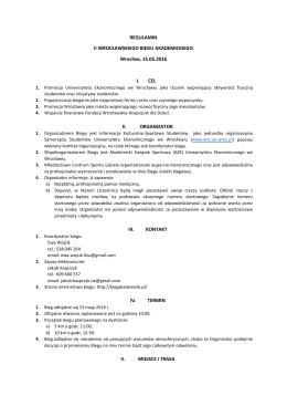Regulamin Biegu - Wrocławski Bieg Akademicki