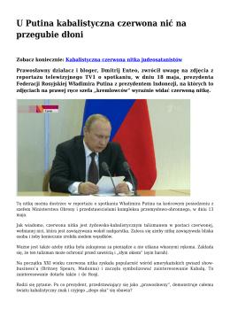 U Putina kabalistyczna czerwona nić na przegubie dłoni