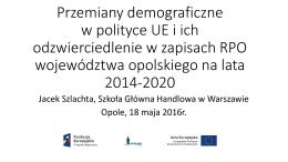 Przemiany demograficzne w polityce UE