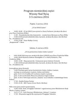 Program niemieckiej części Wiosny Nad Nysą 3