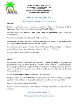 Warszawa - Mszana 2 dni aktualna
