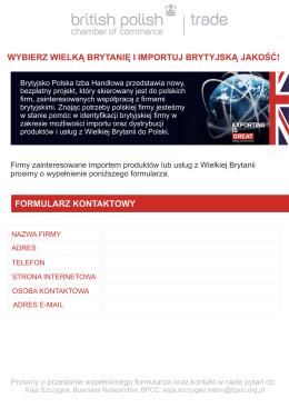 formularz kontaktowy wybierz wielką brytanię i importuj brytyjską