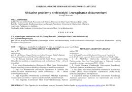 Program I Międzynarodowego Seminarium Naukowo