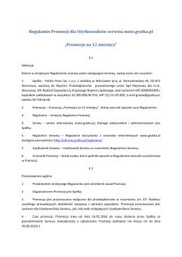 Regulamin Promocji dla Użytkowników serwisu moto.gratka.pl