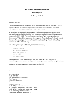 XV OGÓLNOPOLSKI KONKURS GITAROWY na stronę1