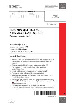 egzamin maturalny z języka francuskiego poziom podstawowy