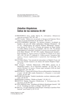 Estudios Hispánicos. ĺndice de los números XI–XV