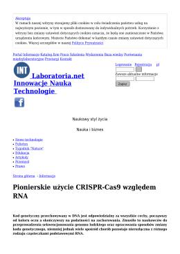 Pionierskie użycie CRISPR-Cas9 względem RNA