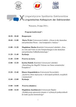 Warszawa, 28 maja 2016 r. Program konferencji*: 10:30 – 10:40
