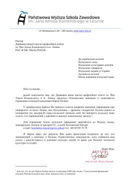 Ректор Державна вищої школи професійної освіти ім. Яна Амоса