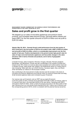 Sales and profit grow in the first quarter