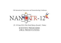 scientific programme (oral presentations) - NanoTR