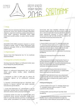 1. Amaç 2. Tema 3. Organizasyon 4. Kategoriler ve Katılım