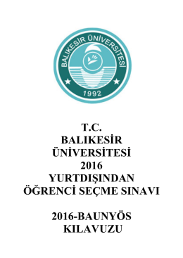 Türkçe - baunyös 2016 - Balıkesir Üniversitesi