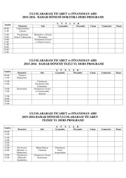 2015-2016 bahar yarıyılı lisansüstü haftalık ders programı