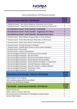 2016 kurumsal eğitim kataloğu