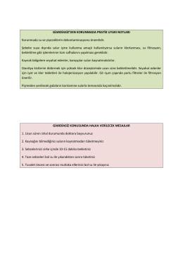 Giardiasiz hastalığından korunmada pratik uyarı notları