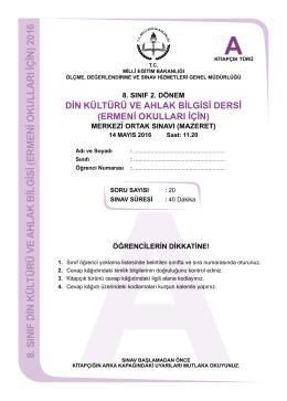 Ermeni Okulları İçin - Ölçme, Değerlendirme ve Sınav Hizmetleri