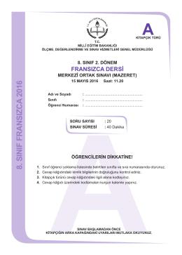 Fransızca Dersi A Kitapçığı - Ölçme, Değerlendirme ve Sınav