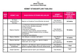 Hizmet Standartları Tablomuz... - ada anaokulu