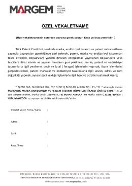 Vekaletname Örneği / TC - margem marka & patent ofisi