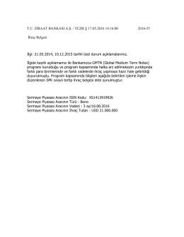 17.05.2016 GMTN Programı Dahilinde İhraç Belgesi Düzenlenen