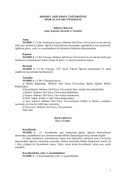 Spor Alanları Yönergesi  - Mehmet Akif Ersoy Üniversitesi